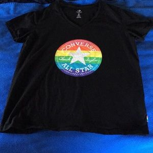 A Black converse vneck with rainbow logo